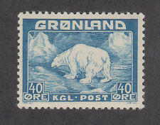 Greenland Sc 8 MNH. 1946 40o blue Polar Bear, key stamp to set almost VF