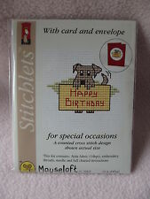 MOUSELOFT STITCHLETS CROSS STITCH KIT ~ HAPPY BIRTHDAY DOG ~ CARD & ENVELOPE