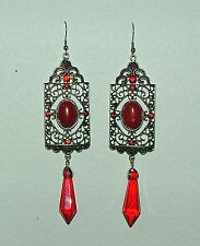 """VERY LONG 5"""" ELEGANT DECO STYLE RED GLASS FAUX CORAL DARK SILVER PLATED EARRINGS"""