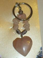 PORTACHIAVI QUARZO ROSA pietra CUORE naturale cristalloterapia minerali amore