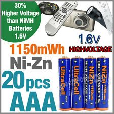 20 x 1150mWh AAA NiZn 1.6V Volt Rechargeable Battery 3A LR03 HR03 Ultracell Blue