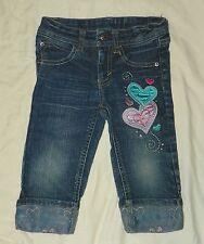 Girls JET SET Denim JEANS 3/4 Pants CAPRIS Size 4 Hearts Adjustable Waist