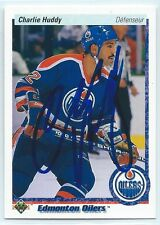 1990-91 Charlie Huddy signed Upper Deck Edmonton Oilers hockey card; autograph