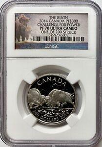 "2014 Canada 1 oz Proof Platinum $300 "" THE BISON "" NGC PF70UCAM"