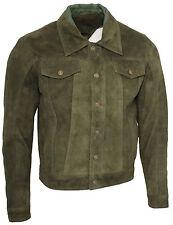 Men's Trucker Casual Khaki Goat Suede Leather Shirt Jeans Jacket