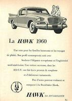 1960 STUDEBAKER HAWK 2-DOOR AUTOMOBILE ORIGINAL AD IN FRENCH