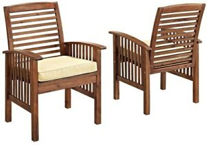 Dining Chairs Acacia Wood Frame in Dark Brown with White Cushions (Set of 2)