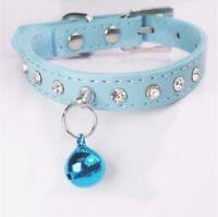 Hundehalsband Strass Leder Halsband Luxus Blau Chihuahua Yorky Schick XS
