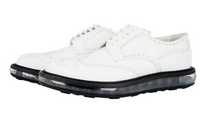 AUTH LUXURY PRADA AIR SOLE SHOES 2EE098 WHITE LEATHER NEW US 11 EU 44 44,5