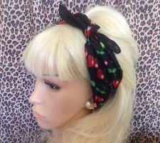 Neuf Noir Rouge Cerise en coton imprimé bandana tête cheveux Foulard Rockabilly PIN UP