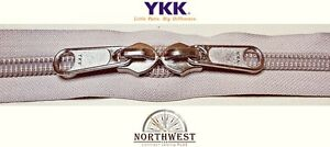 YKK Nylon Coil Zipper Tape # 10 Platinum 10 yards with 20 Nickle Zipper Sliders