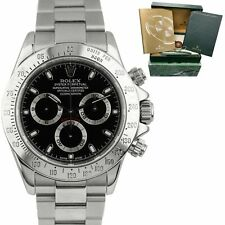2003 Rolex Daytona THIN HANDS Black Y SERIAL Stainless Steel 40mm Watch 116520