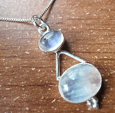 Moonstone Double Gem Oval 925 Sterling Silver Necklace Imported from India u246m