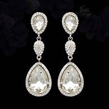 Bridal Drop Dangle Earrings 6753 Rhodium Plated Clear Crystal Rhinestone Wedding