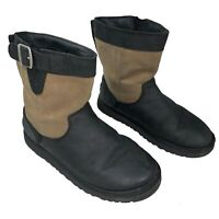 UGG Lockie Boots Black Leather Sheepskin Lined Winter Boot Sz Kids 4.5, Womens 6