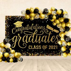 Black & Gold Graduation Decorations Backdrop Balloons 2021 Party Supplies Decor