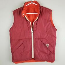 Camel Vintage Mens Goose Down Reversible Vest Red / Orange Small