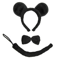 Black Mouse Ears, Tail, & Bow Tie Costume Set ~ HALLOWEEN FUN DRESS UP PARTY KIT