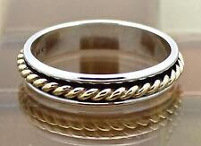 James Avery 14k Gold Twist & Sterling Silver Band Ring Size 8.5, 3.7G RET$150!!!
