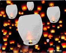 20 Bianco Cinesi Volanti Cielo Lanterne COMPLEANNO MATRIMONIO FESTA (100% Eco-Friendly)