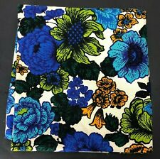 Vtg Riegel Material Fabric BOLD Floral Blue Green 2.5 Yd MCM Mid Century Tablecl