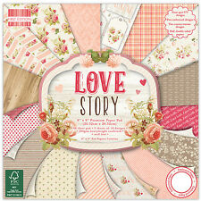 Dovecraft First Edition 8x8 Paper Pad - LOVE STORY - Scrapbooking Cards