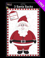 3 x LARGE Christmas Santa Sacks - plastic approx 30 x 20 inches