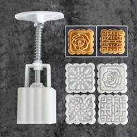Moon Cake Mould Mold With 4Pc Stamps Round Flower Pastry Mooncake Hand DIY Tool