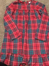 vGuc Gymboree Girls Christmas Nightgown 10-12 Red Green Plaid