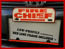 REFLECTIVE FIRE CHIEF ALUMINUM PLATE TOPPER WITH RED LINE LICENSE PLATE FRAME