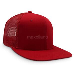 Mens Snapback Hat Cotton Mesh Solid Flat Brim Style Baseball Cap Trucker Visor