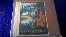 1910 INDIAN QUEEN GRAPHIC BROOM LABEL from HAMBURG BROOM WORKS HAMBURG, PENNA