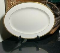 """Lenox Tuxedo 16"""" Oval Serving Platter Gold Trim Made in the USA - Excellent"""