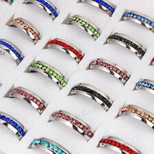 20pcs Rhinestone Color Mix Stainless Steel Rings Wholesale Fashion Jewelry Lots