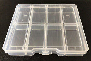 Storage Box Plastic  8-Compartment Craft Supply Organiser with Hinged Lid NEW.