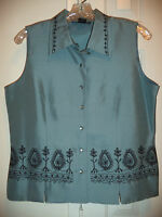 Silkland Dusty Grey Blue Embroidered Silk Sleeveless Blouse Shirt Top L 12 14