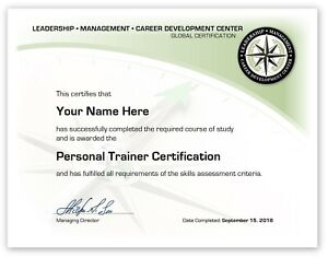 Personal Trainer Training Course Certificate / Diploma Fitness Certification