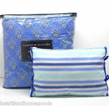 TOMMY HILFIGER FLORAL TWIN COMFORTER 3pc SET PILLOW Melrose BLUE AQUA WHITE NEW