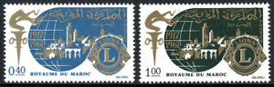 Maroc 157-158, MNH Lions Intl 50th Anniv. Torche, Globe, Ville, Emblème, 1967