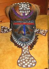 Antique African Kuba Tribe Bwoom Helmet Mask Cowrie Shells Copper Congo, Africa