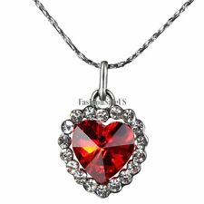 Beautiful Red Heart of Ocean Crystal Pendant Necklace Birthday Gifts