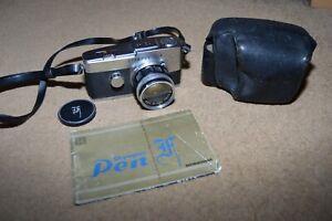 Vintage OLYMPUS PEN F SLR half frame camera with lens soft case and manual