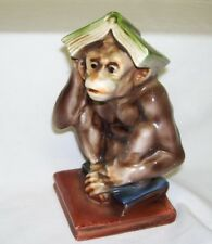 Antique Handpainted Monkey with Books Figurine Marked Japan