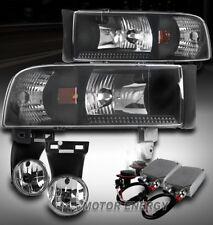 94-01 DODGE RAM BLACK CRYSTAL HEAD LIGHT W/FOG LAMP+50W 6000K HID 1500 2500 3500