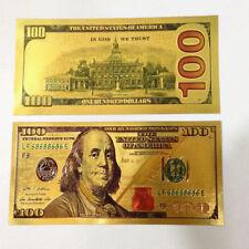 ORO 99,9% - Billete de 100 dollar, acabado en color - GRAN CALIDAD PLANCHA NEW