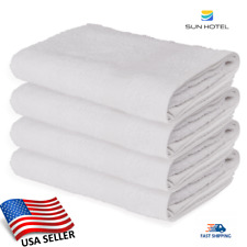 12 WHITE BATH TOWELS SUN HOTEL BRAND 22''X44'' HOME USE ABSORBENT 100% COTTON