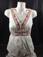 Loft Women White Tank Top Size 8 Sleeveless Floral Made In China Bin74#8