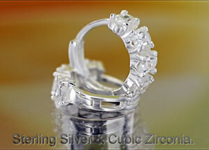 H-107 Bravo Collection Sterling Silver & Cubic Zirconia Sleeper Hoop Earrings