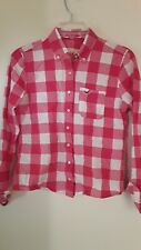 HOLLISTER Red Coral White Plaid Button Up Women's Shirt  - Sz S