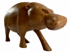 Vintage Hand-Carved Wooden Hippo Hippopotamus